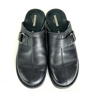Clarks Collection Black Mules Clogs Womens 7.5